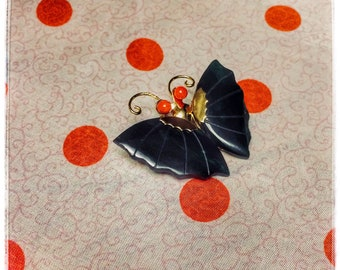 Vintage Jade Gold Tone Butterfly Pin Pendant