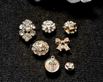 Rhinestone thumbtacks pushpins, 7 Rhinestone Push Pins Thumb Tacks, Cork Board Accessory, Gift For Her, Retirement Gift