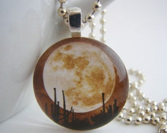 Moon Over the City Pendant with Free Necklace