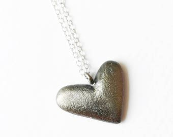 Black Heart Necklace, Sterling silver Black Heart Necklace, Heart Necklace, Love Necklace, Pendant Necklace, Dainty silver necklace.