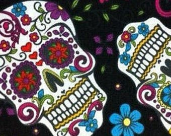 Day of the Dead Sugar Skull Fabric in Fat Quarters 100% Cotton Quilting Crafts Women's Clothing