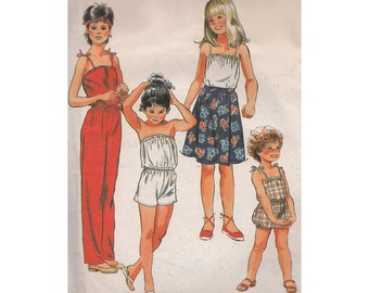 1980s Tween Girls Jumpsuit or Romper with Front Wrap Skirt McCalls 7892 Strapless or Spaghetti Straps Size 12 Breast 30