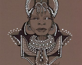 AKUJ ORIGINAL ART, Tribal Beauty, Pen & Ink, Fantasy