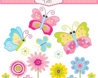 ON SALE Butterfly Clip Art _ Flowers Clip Art - pink, blue, green, INSTANT Download Digital clip art