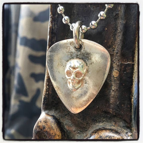 Etherial Jewelry - Rock Chic Talisman Luxury Biker Custom Handmade Artisan Pure Sterling Silver .925 Bespoke Handcrafted Guitar Pick Pendant