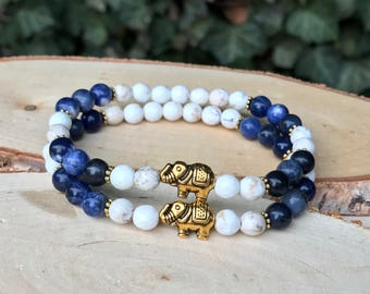 Friendship bracelet bracelet Set friend elephant sodalite magnesite Gold 6 mm