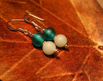 Teal Green and Misted Green Silver Dangle Earrings (2744)