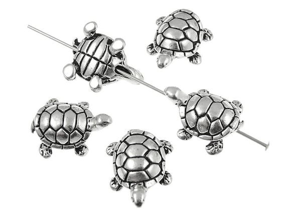 Turtle Beads Silver Beads Three Dimensional 3D Beads