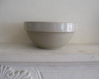 Perfect, antique French rustic Digoin Crespots stoneware bowl, ivory  - 65 euro