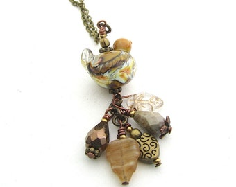 Rustic Brown Bird Necklace, Charm Pendant, Brass Chain Necklace 18 Inches, Lampwork Glass Bead