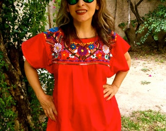 Embroidered mexican blouse, L RED BLOUSE Frida style ,traditional  embroidered, boho, hippie