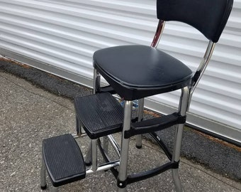 Folding Kitchen step stool, Chrome  and Black, Cosco, Kitchen chair, step ladder