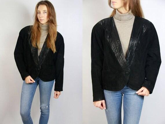 Black Suede Blazer / Blazer Jacket / Black Suede Jacket / Suede Jacket Black / Vintage Suede Jacket / Leather Jacket Black / Suede Blazer