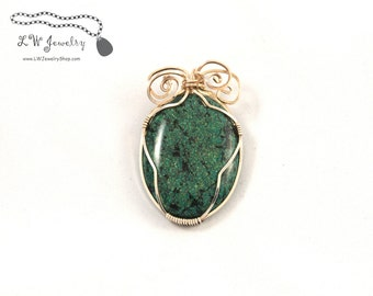 Pendant, Dyed Chrysocolla Jasper, Sterling Silver, Pendant, wire pendant, wire wrap, wire wrapping, wire wrapped pendant, necklace, handmade