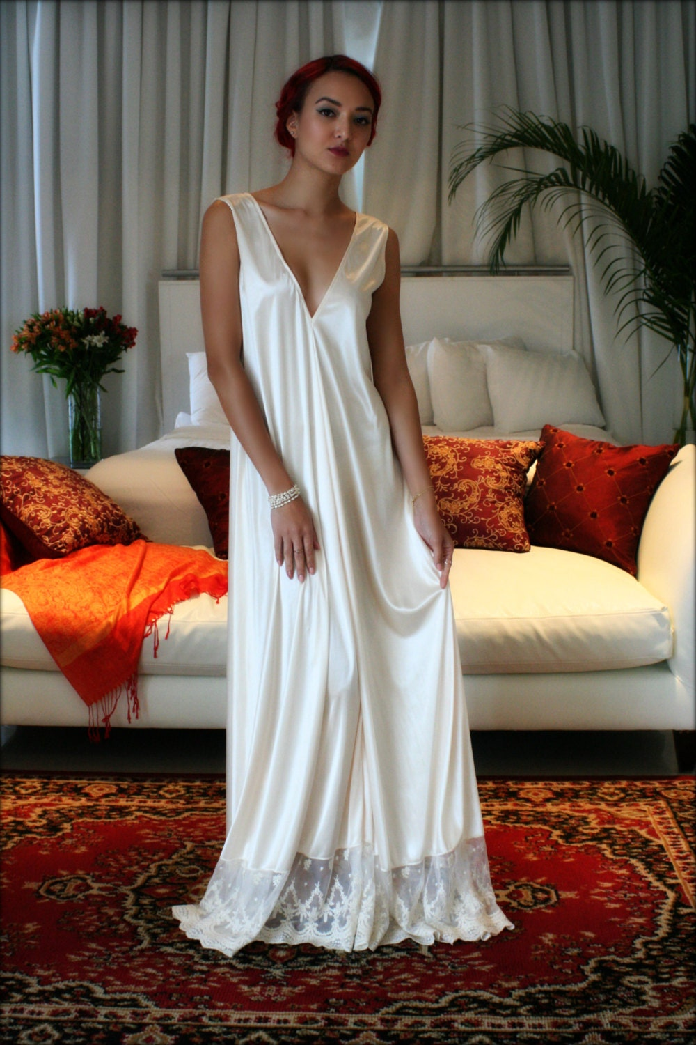 Bridal Nightgown Satin Wedding Lingerie Champagne French Lace
