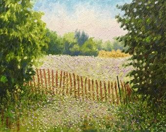 "Original Impressionist Oil Landscape Painting ""Snow Fence"" 16x20"