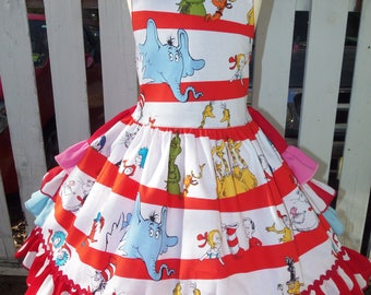 Cat in the Hat - Dr Seuss Dress - Girls  Clothing - Pageant Dress - Birthday Party Dress  Size 4t/5t  24in length Ready to Ship