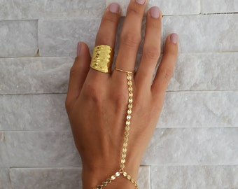 Gold Coin Hand Chain || 14k Gold Filled