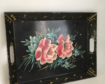 Vintage Tole Tray, Black Hand Painted Floral Tray, Large Rim Tray with Inset Handles, Mid Century Tray, Rusted Tray