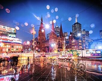 Melbourne Photograph Flinders Street Art Photography Print NIght City Wall Decor Wedding Gift for him Travel Raindrops FREE POST AUSTRALIA