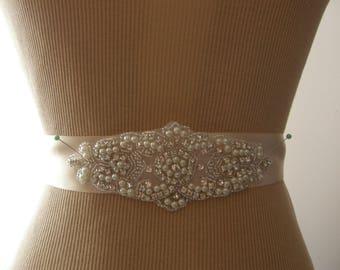 SALE / Wedding Belt, Bridal Belt, Bridesmaid Belt, Sash Belt, Wedding Sash, Bridal Sash, Belt, Crystal Rhinestone & Pearl