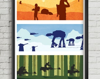 Star Wars original trilogy minimalist art prints