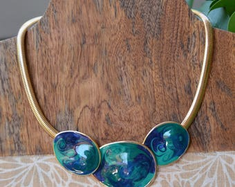 Vintage Omega Enamel Statement Necklace Choker Green Blue