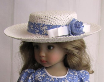 """Ivory Straw Doll Hat Bolero Sailor Boater Decorate Your Own Fits 13"""" Little Darling 12"""" Kish 8"""" Head"""