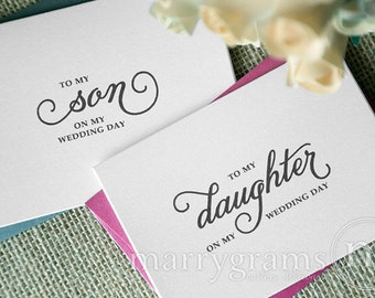 Wedding Card to Your Son and Daughter - Children of the Bride or Groom Cards - On My Wedding Day Keepsake Note or Gift - CS05