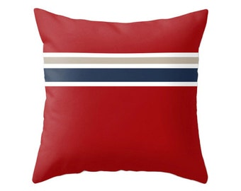 Nautical pillow Taupe with stripes navy blue, white and red striped throw pillow red stripes pillow nautical cushion cover striped cushion