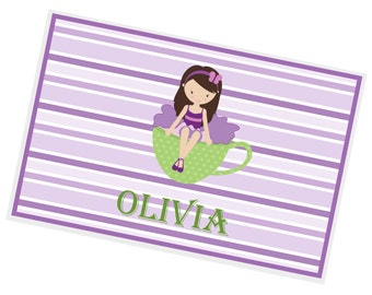 Tea Girl Personalized Placemat - Tea Party Girl Green Cup Purple Stripes with Name, Customized Laminated Placemat