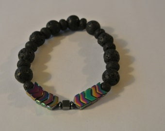 Black Lava Beads with Black Arrow and Square Beads