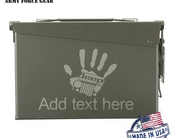 High Five Jeep Custom Engraved 30/50 Cal Ammo Can Personalized Dad Gift Cool Guy Gifts Father's Day Gift Grandpa Gift Groomsmen Hunter