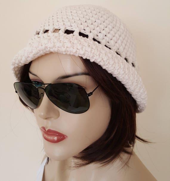 Häkeln Sie Hut Cloche Hut 1920er Jahre Mütze aus Baumwolle