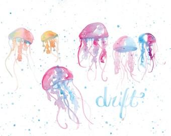 Jellyfish Drift | Watercolor | Lettering