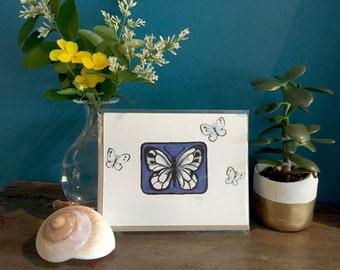 Carte de papillon peint main, original miniatures peinture, « Winnie », vierge carte de voeux, carte de l'insecte