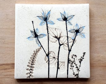 Ceramic botanical blue tile
