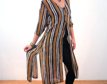 Abha, 90s Long Brown Tunic S, Brown Striped India Tunic Top, Sheer Rayon Tunic, Hippie Tunic, Long Striped Boho Tunic, Vintage Long Top
