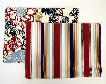 Pair of Reversible Placemats: Maroon and Navy Floral and Stripes