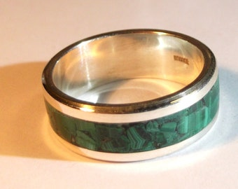 Personalized text sterling silver band ring, with malachite stone.