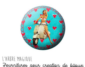 2 cabochons with stick Pin up red blue Vespa 18 mm - ref 907