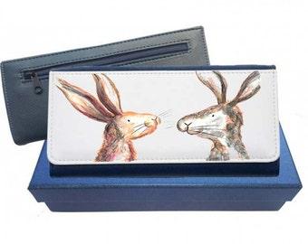 Hare purse, navy purse, pink purse, leather purse, hare gift, rabbit leather purse, hare gift, gift for mu, Christmas gift