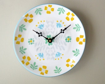 Whimsical Floral Wall Clock, Silent 8-1/2 Inch Ceramic Plate Clock, Yellow Blue Green Floral Clock, Unique Wall Clock - 2491