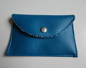 teal leather wallet with flap