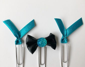 Druzy Bow Ribbon Glitter Paperclip Set Cerulean set of 3