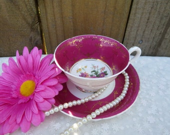 Vintage Tea Cup and Saucer, Pink Tea Cup and Saucer with Gold Trim,  Copeland China Tea Cup and Saucer, Made in England, Mom's Gift