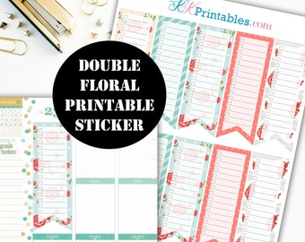 Double Floral to do list Flag Printable Planner Stickers // Erin Condren Printable / Plum Paper / Planner Instant Digital Download 00051