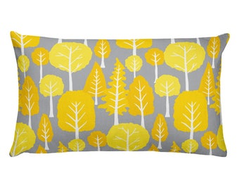 Beautiful trend-forward grey and yellow tree pattern on gorgeous Rectangular Pillow Home Decor