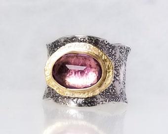 Purple Amethyst Stone Ring , Fused Ring, One of a kind, Handmade, Purple stone,