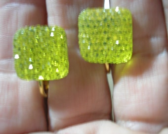 """Play Earring - Clip - Square Jewel - Yellow - 1/2"""""""